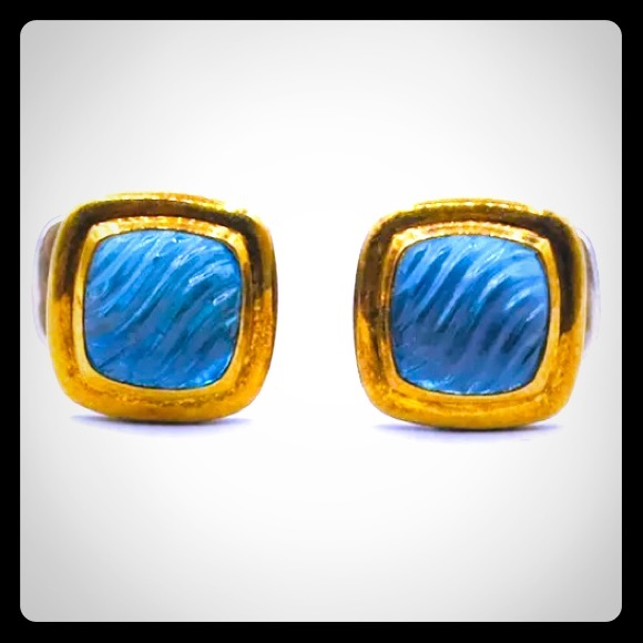 David Yurman Other - DY 18k Gold Topaz Cufflinks Sterling Silver